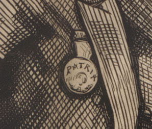 "Detail of ""Patria"" medal from cartoon ""The Crowning Insult to Him Who Occupies the Presidential Chair"""