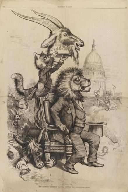 "Thomas Nast, ""The Crowning Insult to Him Who Occupies the Presidential Chair,"" Harper's Weekly, May 13, 1876"