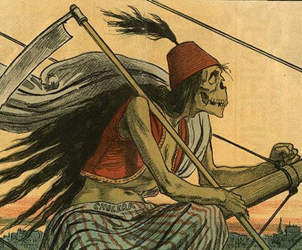 "Death, depicted as a skeleton in Egyptian garb, holding a scythe and labeled ""cholera"" (detail from ""The Kind of 'Assisted Emigrant' We Can't Afford to Admit"")"