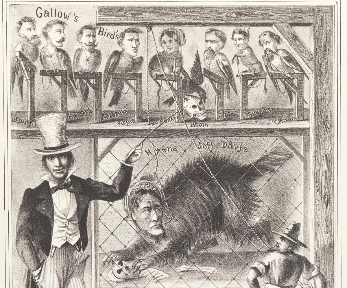 "Detail from a political cartoon showing Jefferson Davis as a hyena wearing a bonnet in a cage underneath a gallows at ""Uncle Sam's menagerie."" Above Davis's cage is a row of smaller gallows on which perch ""gallows birds"" with the heads of John Wilkes Booth and other men and women associated with Lincoln's assassination."