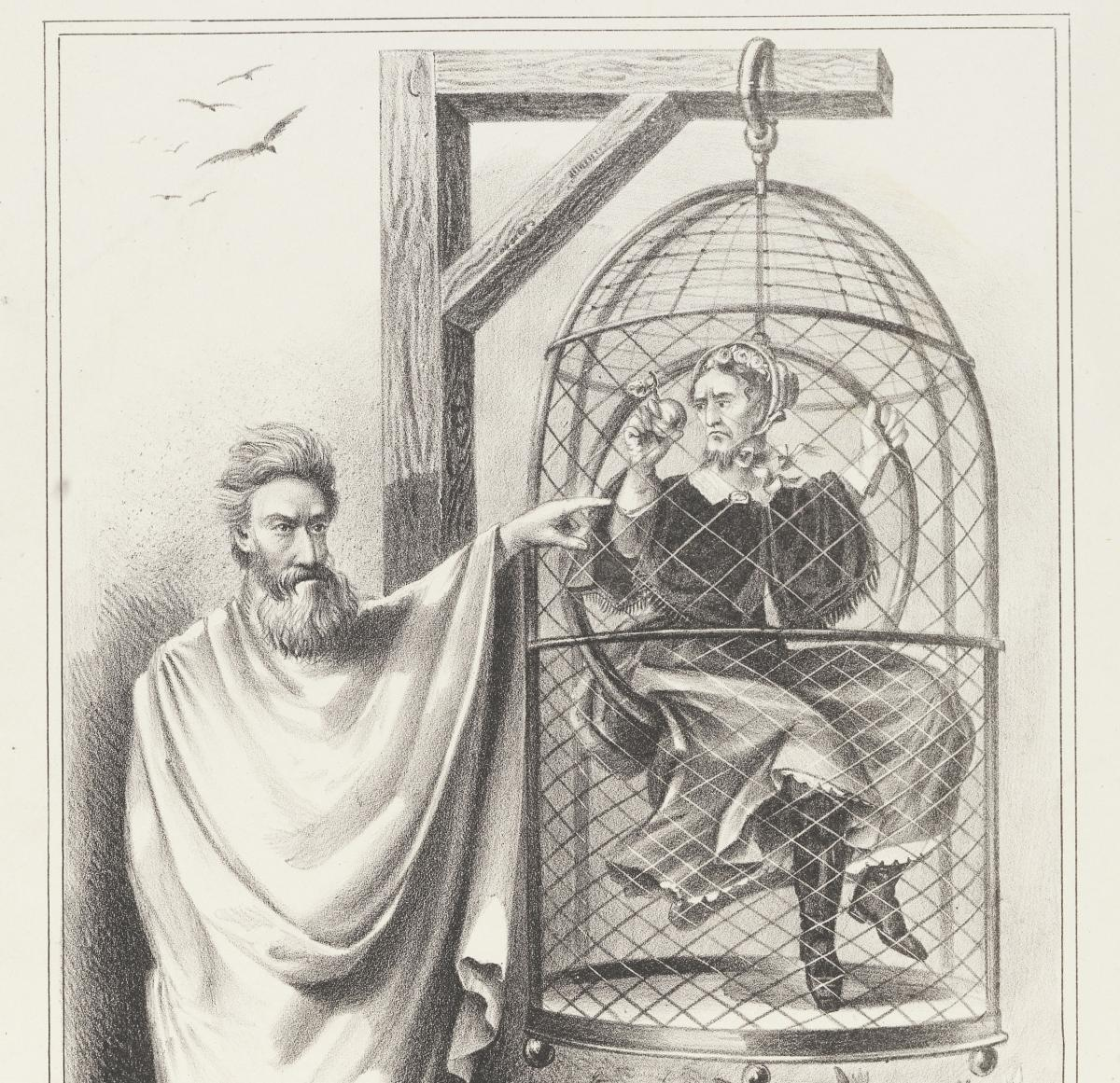 Detail from political cartoon showing John Brown standing next to a birdcage suspended from a gallows, in which sits Jefferson Davis, clothed in a women's dress and bonnet.