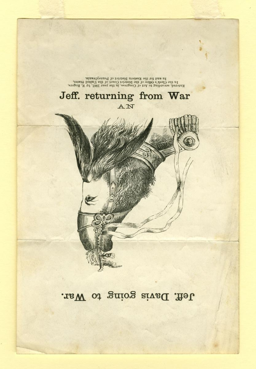 """Jeff. returning from War"" (rotated 180 degrees), depicting Jefferson Davis as an ass."