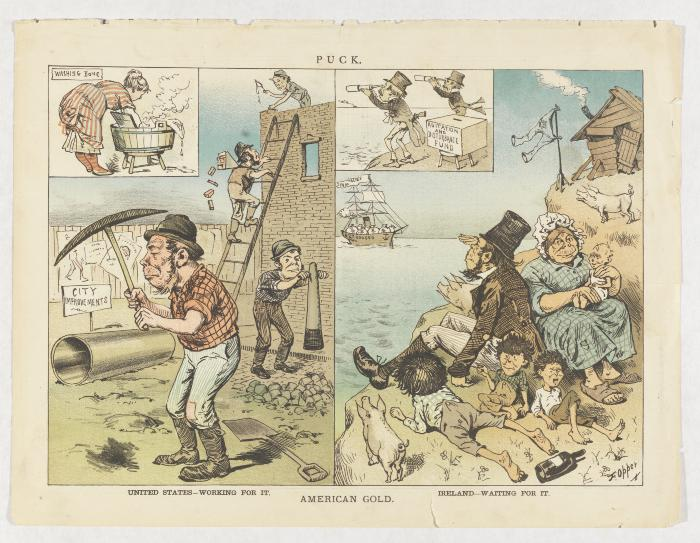 "Cartoon ""American Gold,"" showing Irish American laborers in the left panel and a lazy Irish family among pigs and whiskey bottles in the right panel"