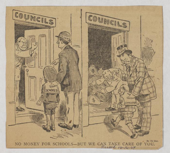 "John L. De Mar, ""No Money for Schools--But We Can Take Care of You,"" Philadelphia Record, October 12, 1907"
