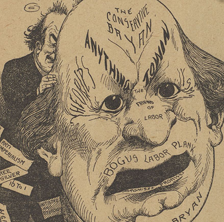 "A grinning William Jennings Bryan hides behind a giant William Jennings Bryan mask (detail from ""A Hallowe'en Party. Nearly Time to Unmask, Willie"")"