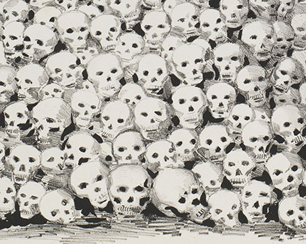 "Wall of skulls (detail from ""An Available Candidate"")"