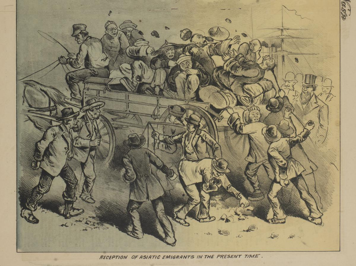 Detail of cartoon showing Chinese immigrants in a wagon being attacked by a mob at the docks