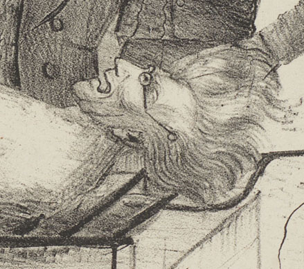 "Andrew Jackson's head (detail from ""The Political Barbecue"")"