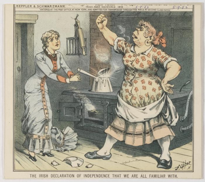 "Cartoon ""The Irish Declaration of Independence That We are All Familiar With,"" showing an Irish housemaid shaking a fist at her non-Irish employer"