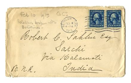 Envelope of letter from Gertrude Chandler Sahlin to her son, Robert Chandler Sahlin. 1913.