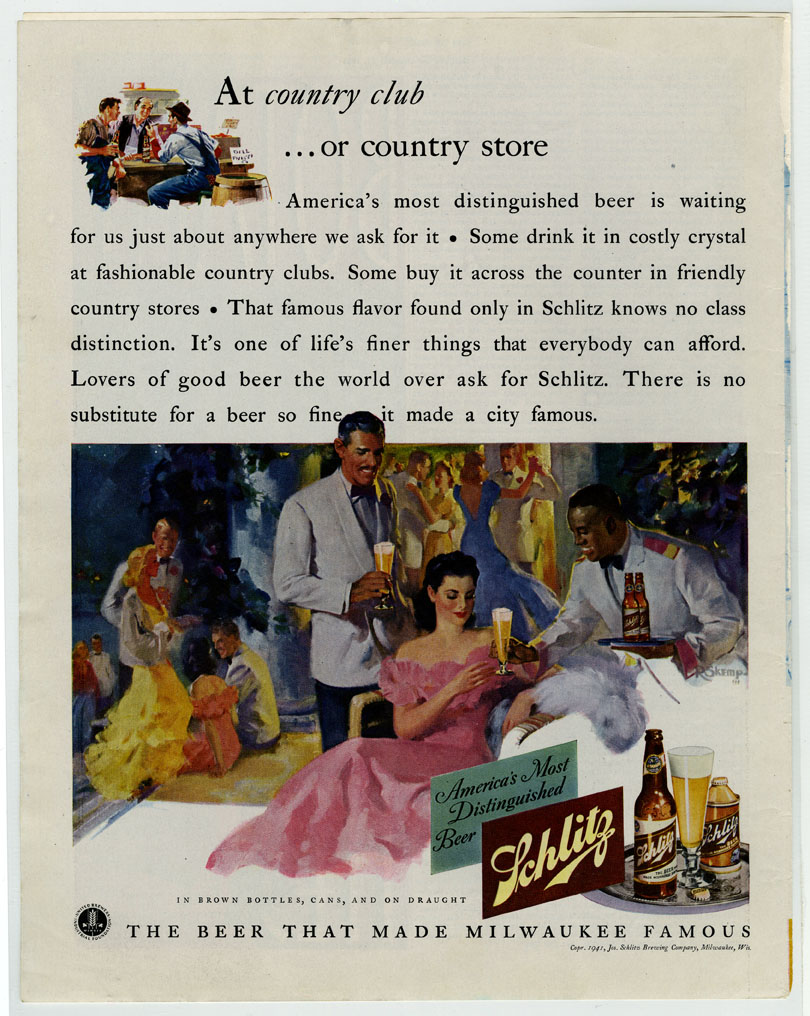 Gone With the Wind inspired ad for Schlitz Beer