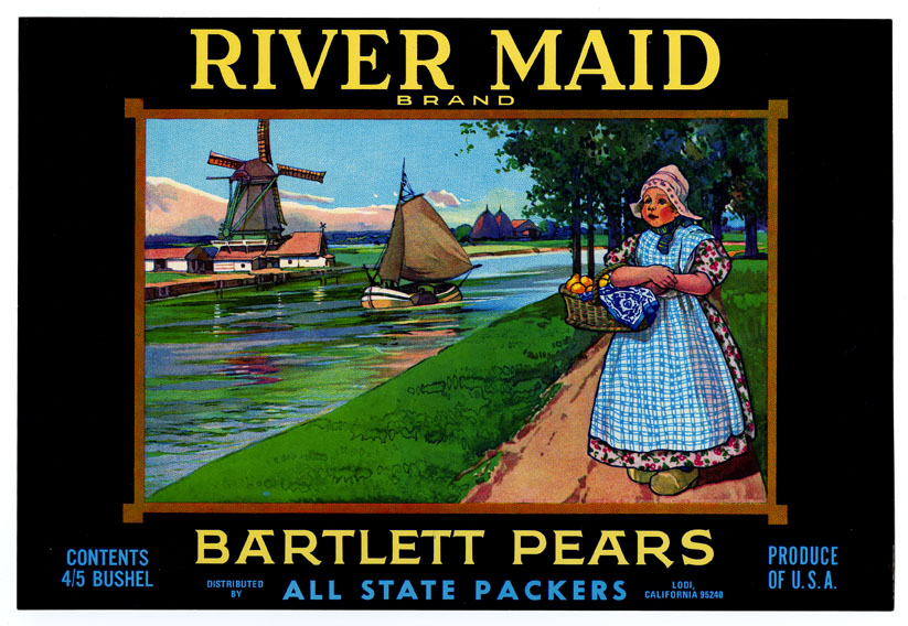 River Maid Bartlett Pears were packaged in California
