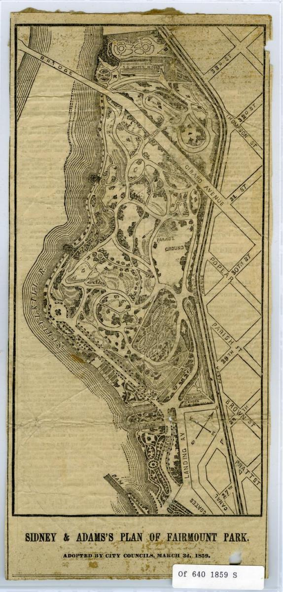 Sidney and Adams Plan of Fairmount Park, 1859