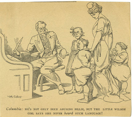 Political cartoon showing Columbia and Uncle Sam as parents disciplining politicians drawn as children, including Woodrow Wilson as a little girl.