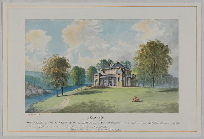Watercolor of Sedgely Mansion in Fairmount Park, Philadelphia, 19th century