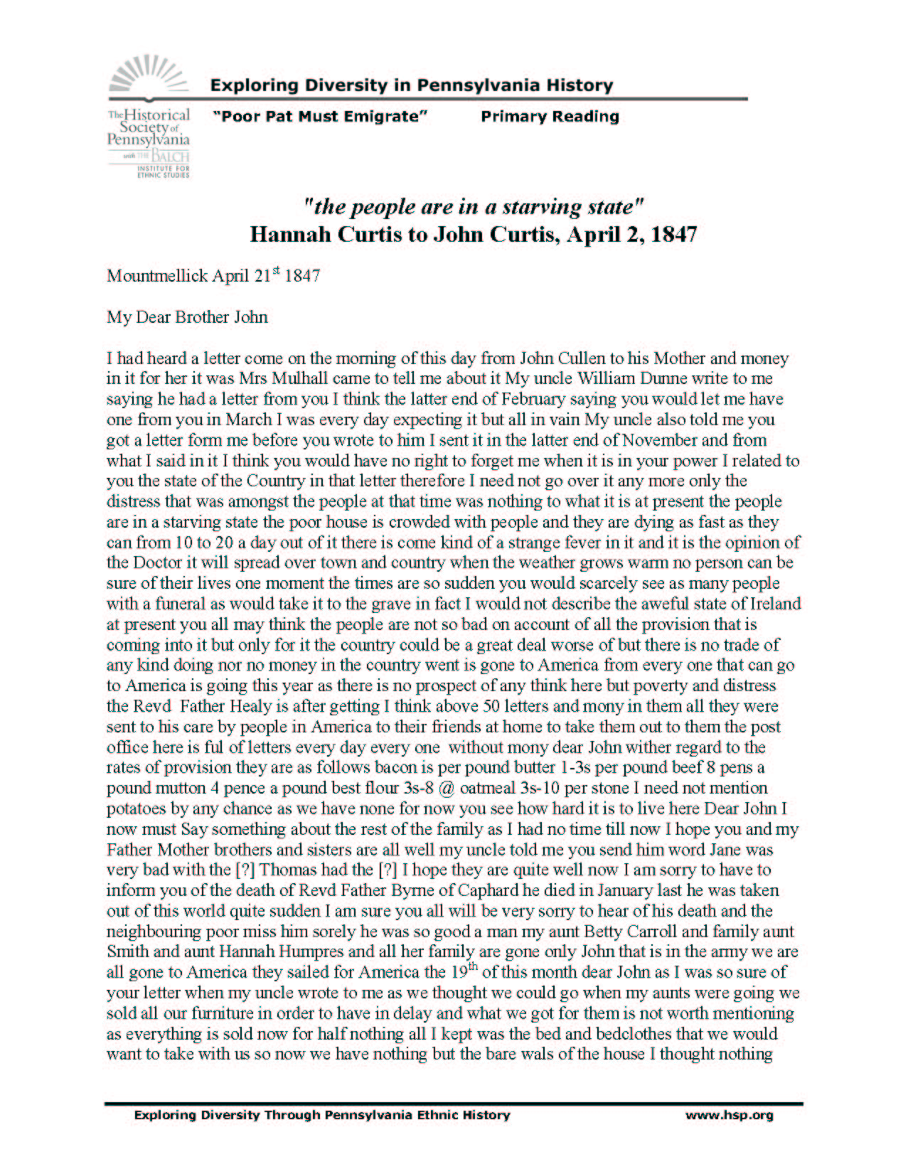 typed transcription of the original 1847 letter page one of two