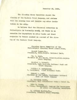 Typescript 1930 statement of Clearing House Committee regarding failure of Bankers Trust Company