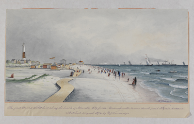 The first boardwalk laid along the beach of Atlantic City from Massachusetts Avenue South past N. York Avenue