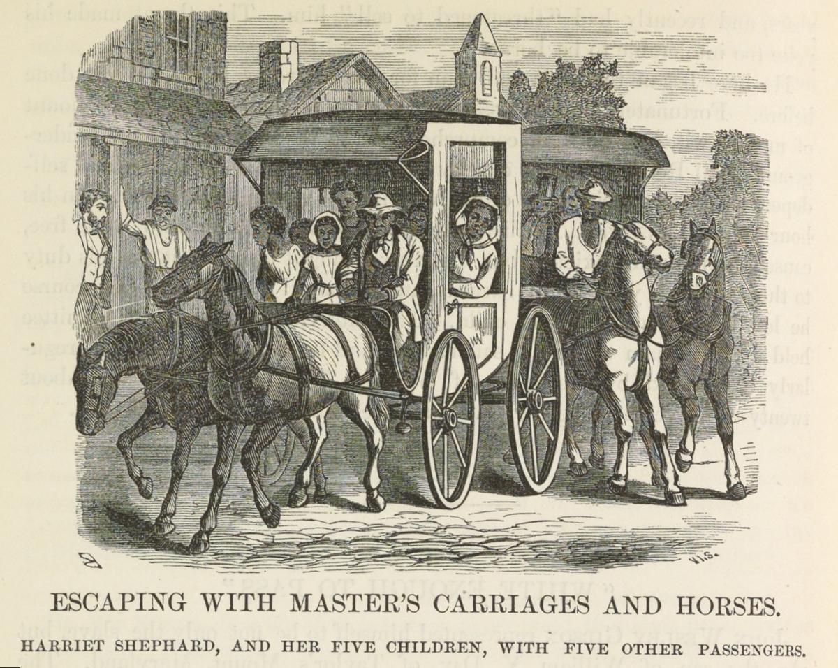"Illustration from The Underground Railroad of the Shephard family's escape from slavery. The caption reads: ""Escaping with master's carriages and horses. Harriet Shephard, and her five children, with five other passengers."""