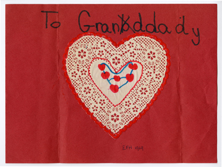 "Handmade Valentine addressed ""To Granddady"" made from a heart-shaped doily."