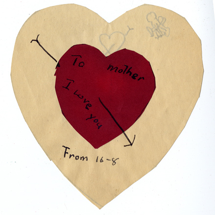 "Handmade Valentine made from red and white paper hearts addressed ""To Mother"" and inscribed ""I love you."""