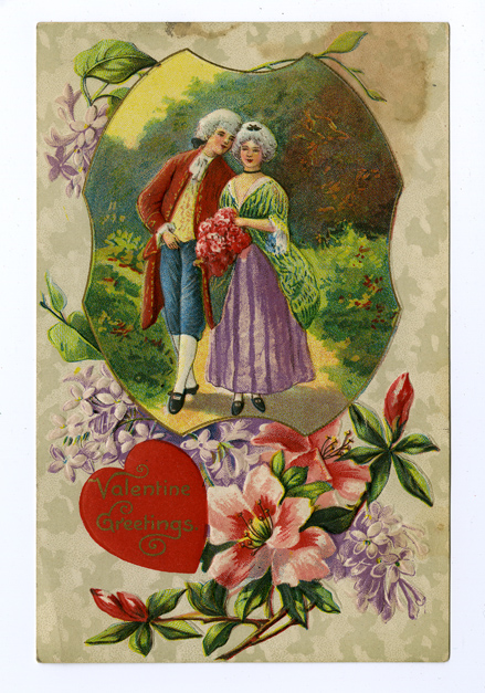 An old-fashioned Valentine featuring a man and a woman in 18th century clothes walking down a garden path.