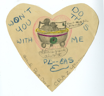 "Hand drawn Valentine featuring a couple snuggling in a car. Inscription says ""Won't you do this with me?"""