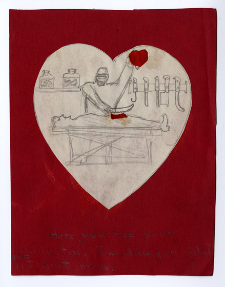 Hand drawn Valentine featuring a surgeon or mad scientist pulling a heart from his patient's chest.