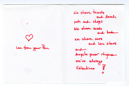 A Valentine with a handwritten poem.