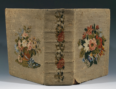 A floral needlepoint Bible cover from the collection