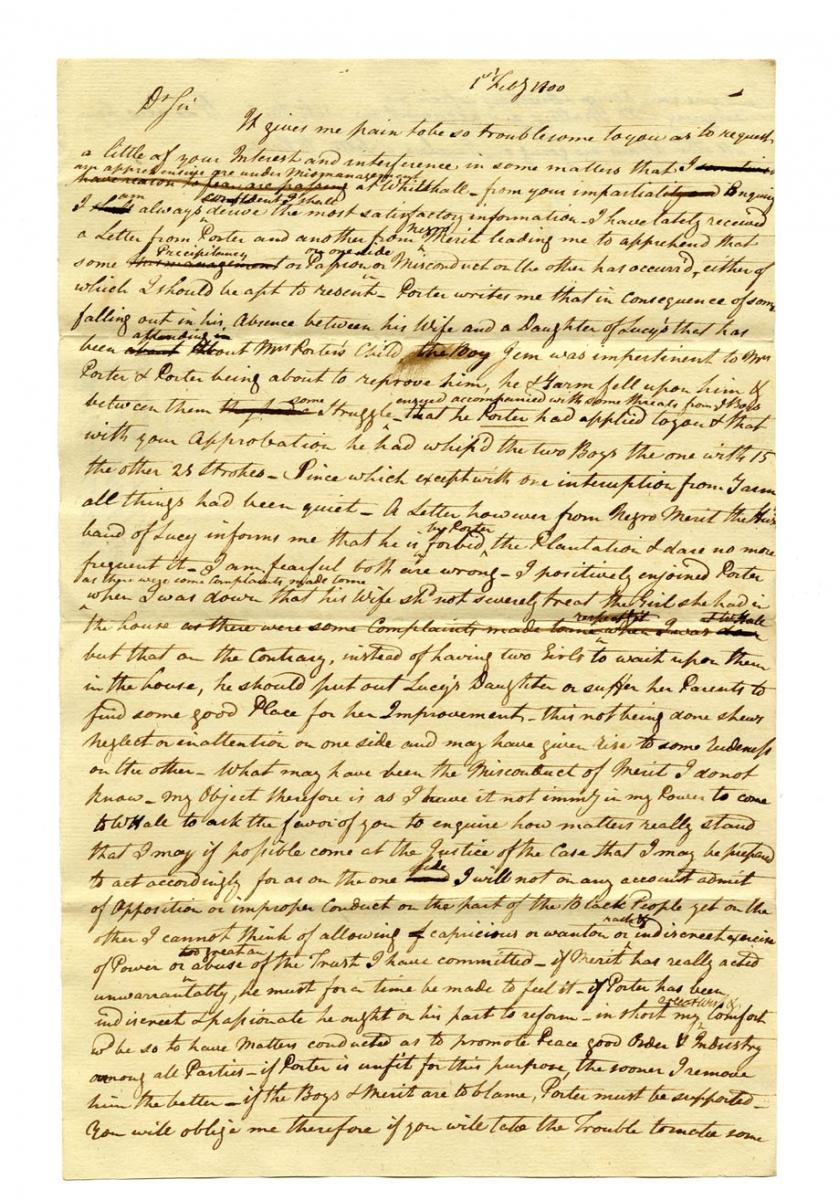 Letter to James Raymond from the Chew Family Papers