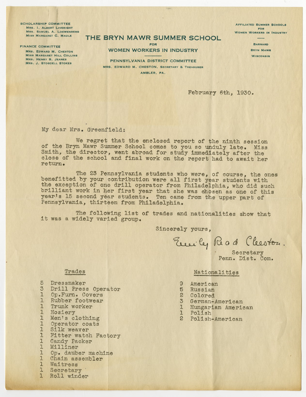 Letter from the Bryn Mawr Summer School to Edna Greenfield, February 6, 1930
