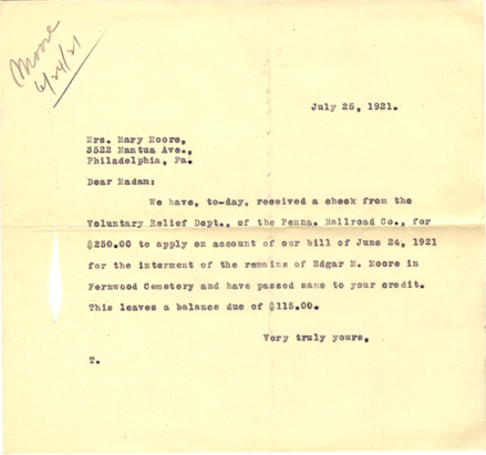 Letter from Oliver H. Bair Company to Mrs. Mary Moore