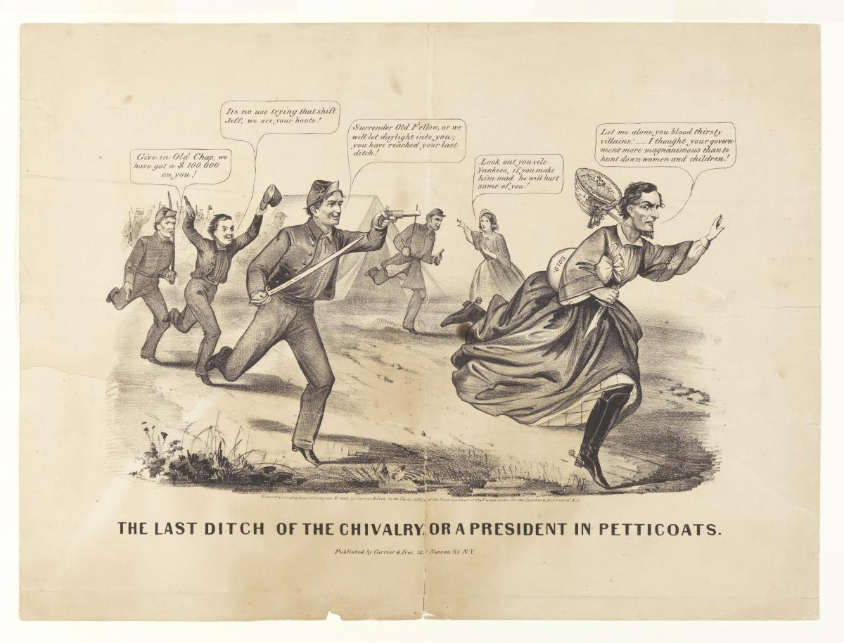 Political cartoon showing Jefferson Davis in a dress and bonnet, fleeing from Union troops
