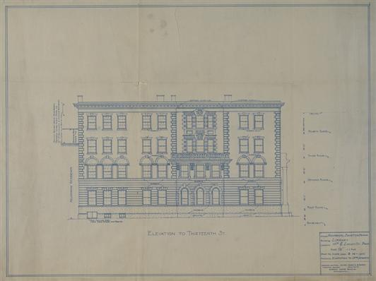 HSP Exhibition, Architectural Plans of 13th Street Facade, Institutional Archives FULL