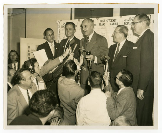 Photo of Mayor Richardson Dilworth at a press conference, c. 1960.