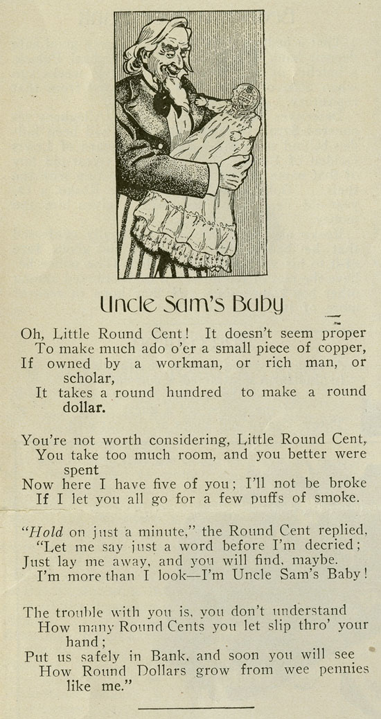 "Cartoon from the School Savings Journal, ""Uncle Sam's Baby"""