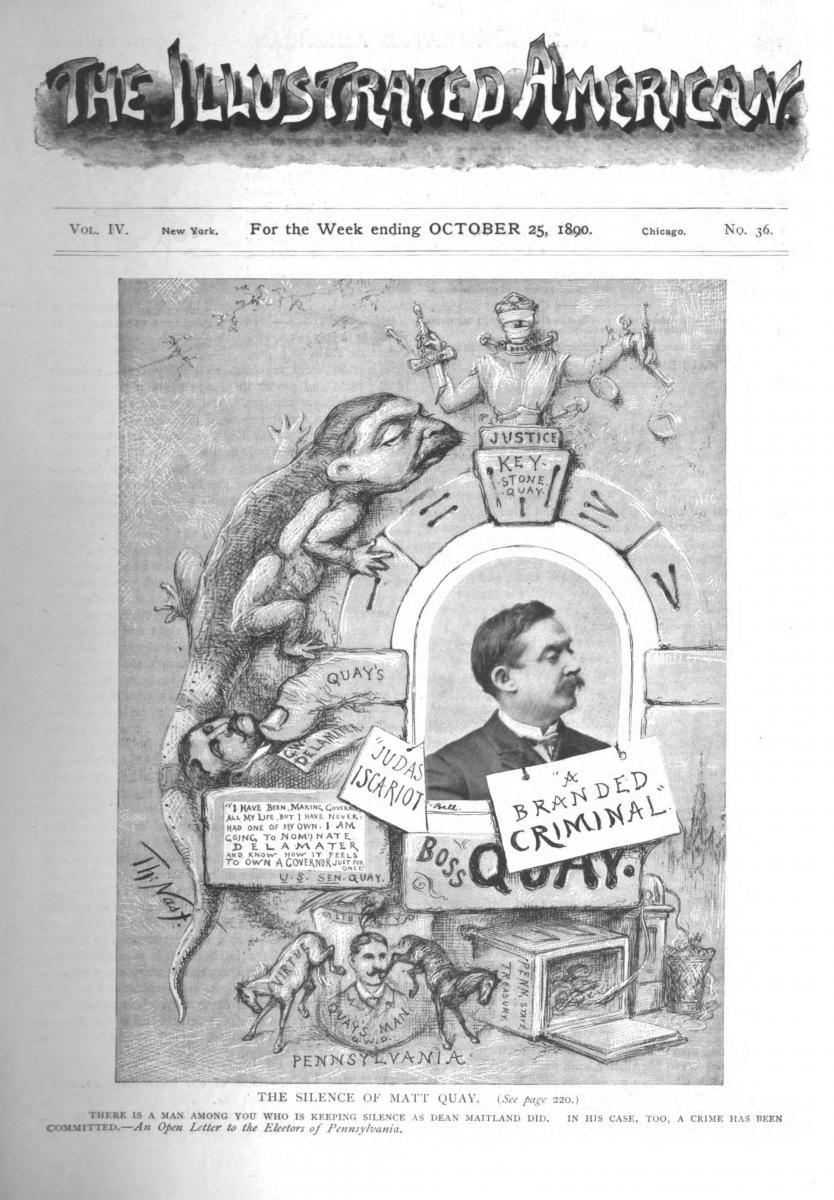"Xeroxed cover image of The Illustrated American for the week ending October 25, 1890, featuring ""The Silence of Matt Quay"" as cover artwork"