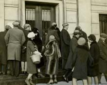 Photograph of people waiting outside the failed United Strength Bank and Trust Company