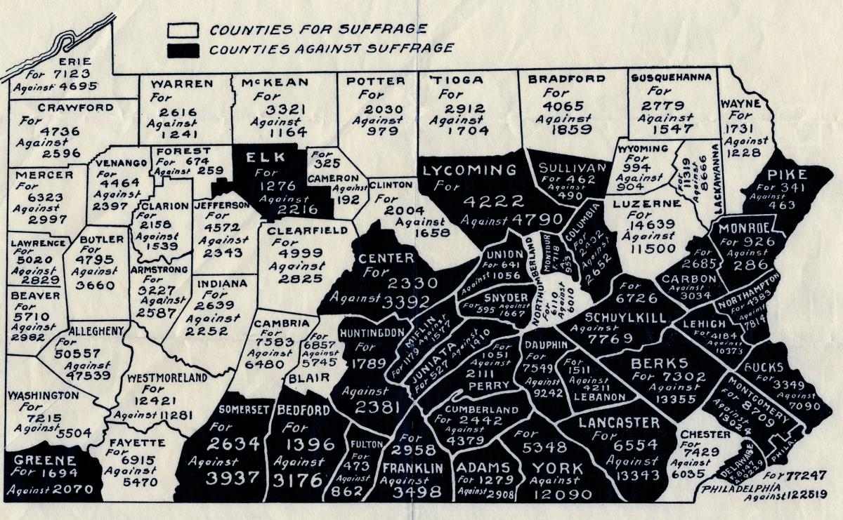 page historical society of pennsylvania detail from a map published by the pennsylvania men s league for w suffrage depicting the votes for and against amendment no