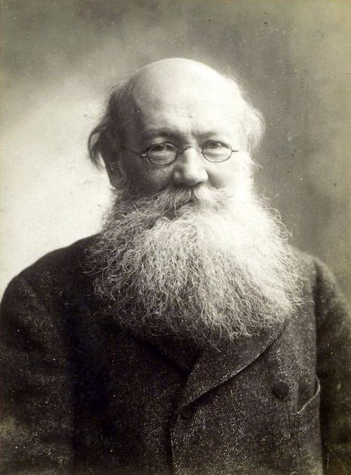 Photograph of Peter Kropotkin. Image shows an older, balding, Caucasian man facing the viewer. He has a flowing white beard and wears small eyeglasses, and is wearing a dark, double-breasted jacket.